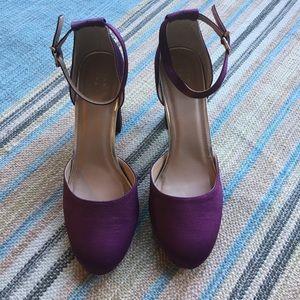 Dark purple close toed heels